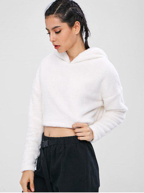 ZAFUL Fluffy Drop Shoulder Crop Teddy Hoodie - Weiß S Mobile