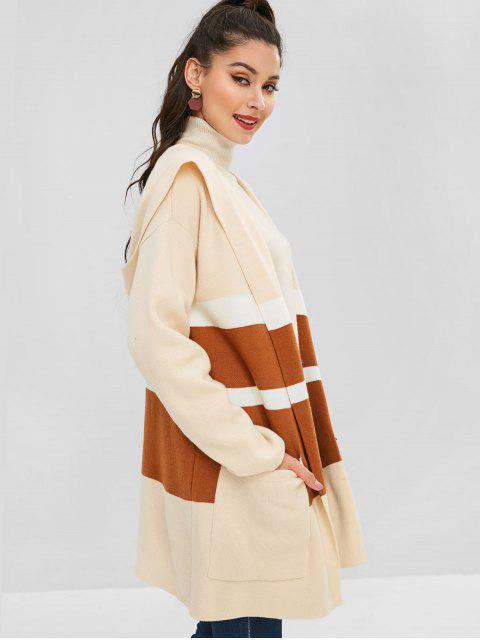 hot ZAFUL PocketS Striped Tricolor Open Cardigan - WARM WHITE ONE SIZE Mobile