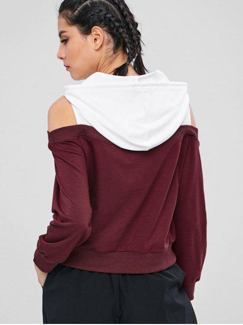 ZAFUL Cold Shoulder sudadera con capucha en dos tonos - Multicolor L Mobile