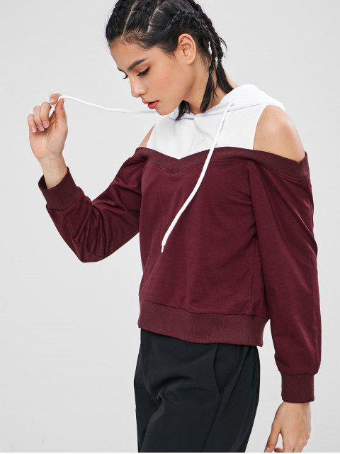 best ZAFUL Cold Shoulder Two Tone Hoodie - MULTI L Mobile