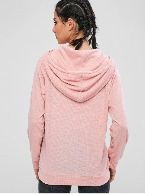 online ZAFUL Knitted Pullover Raglan Sleeve Hoodie - LIGHT PINK S Mobile