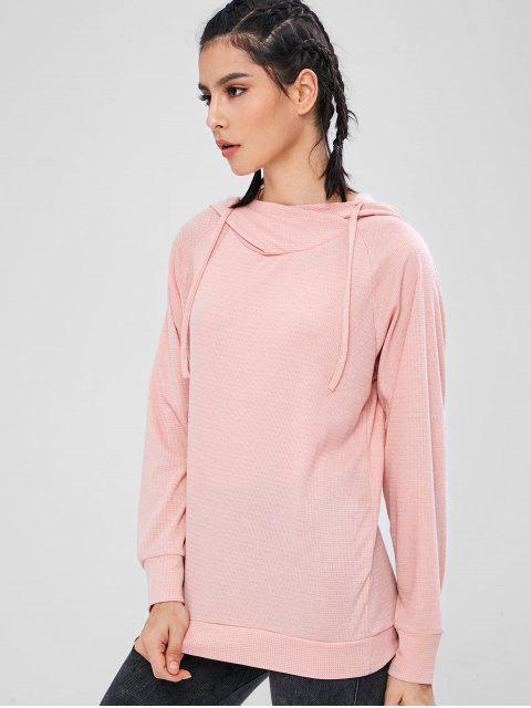 ZAFUL Sweat à Capuche en Tricot à Manches Raglan - Rose Léger  L Mobile
