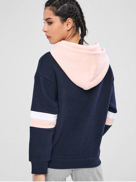 shop ZAFUL Color Block Fleece Drawstring Hoodie - MULTI L Mobile
