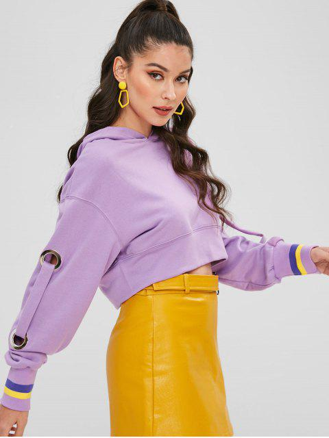 latest Grommets Cropped Hoodie - MAUVE ONE SIZE Mobile