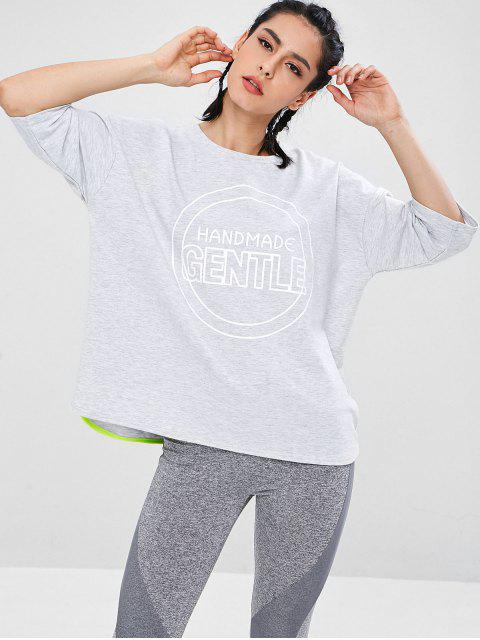 ladies Graphic Boxy Oversized Sweatshirt - LIGHT GRAY L Mobile