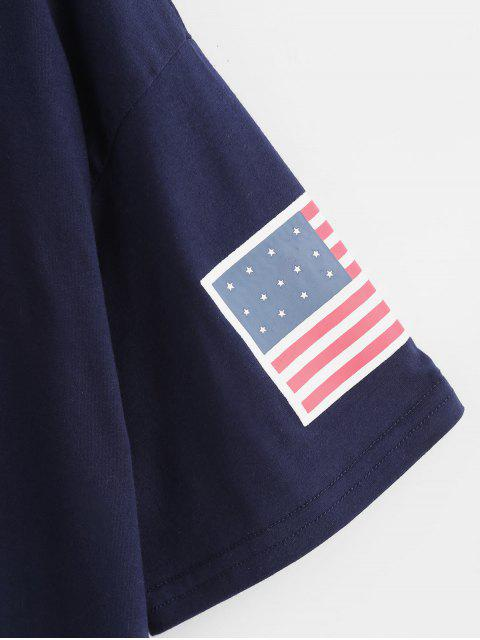 chic ZAFUL American Flag Graphic Tee - DEEP BLUE S Mobile