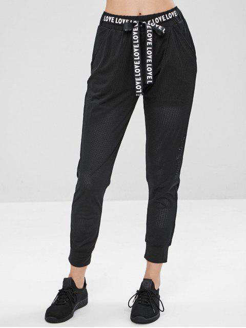 chic Graphic Belt Mesh Joggers Pants - BLACK L Mobile