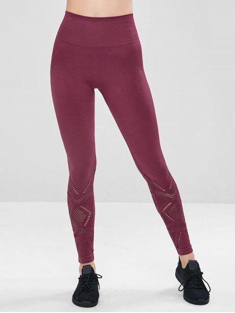 outfits Perforated Wide Waistband Gym Leggings - RED WINE L Mobile