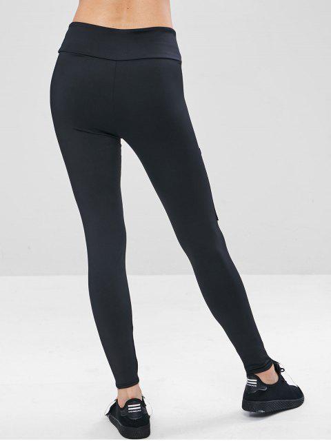 Polainas de entrenamiento de bolsillo de malla de cintura ancha - Negro M Mobile