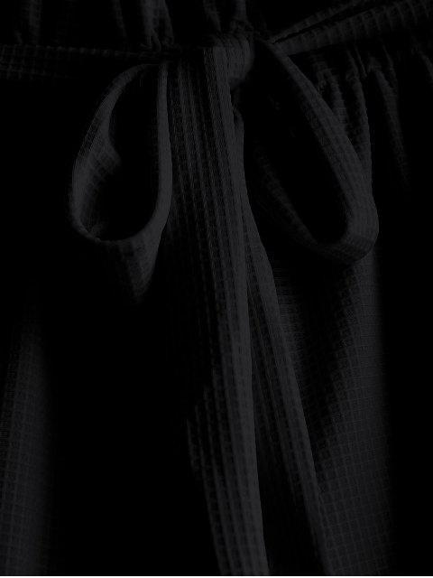 women Tie Belt High Waisted Shorts - BLACK M Mobile