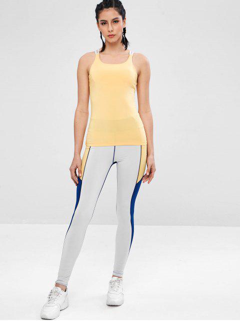 Sport-Trägershirt mit gepolstertem Mesh-Shelf-BH - Gelb L Mobile