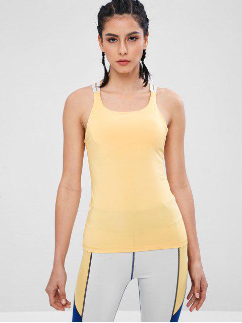 Camiseta sin mangas deportiva con sujetador de malla acolchada - Amarillo L Mobile