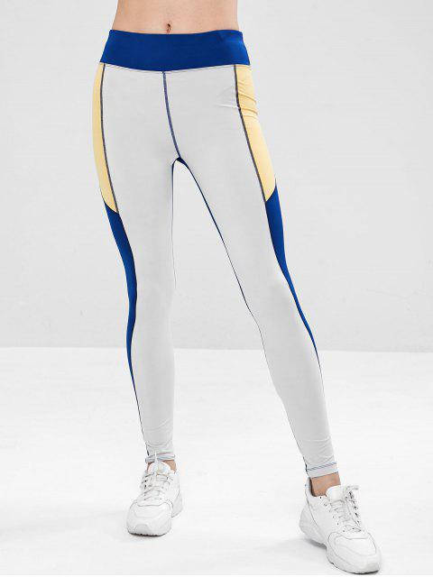 Color bloque compresión leggings deportivos - Multicolor L Mobile