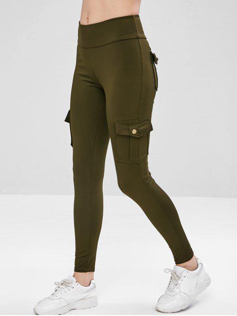 chic Sport Cargo Pocket Gym Leggings - GREEN L Mobile