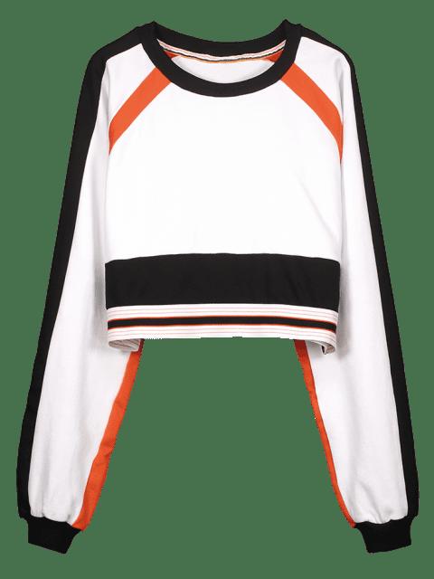 Ernte-Farbblock-Sport-Sweatshirt - Weiß L Mobile