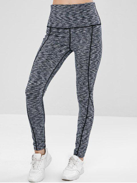 outfit Space Dye Pocket Yoga Workout Leggings - GRAY M Mobile