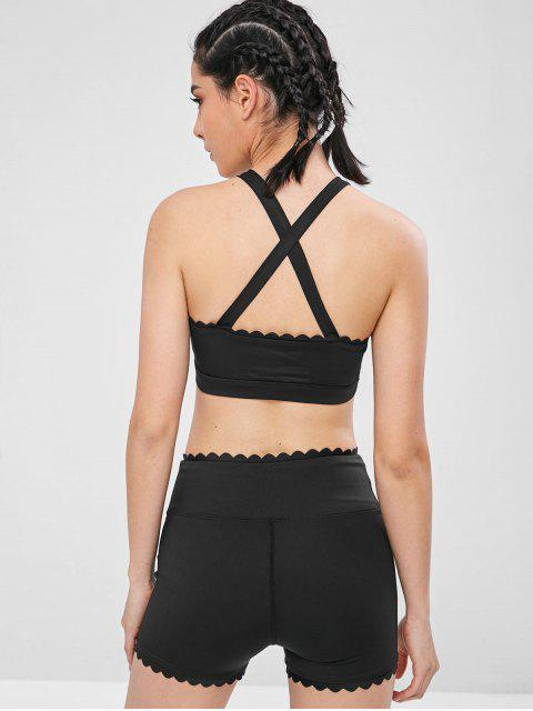 Kreuz überbackener Yoga Gym BH - Schwarz M Mobile