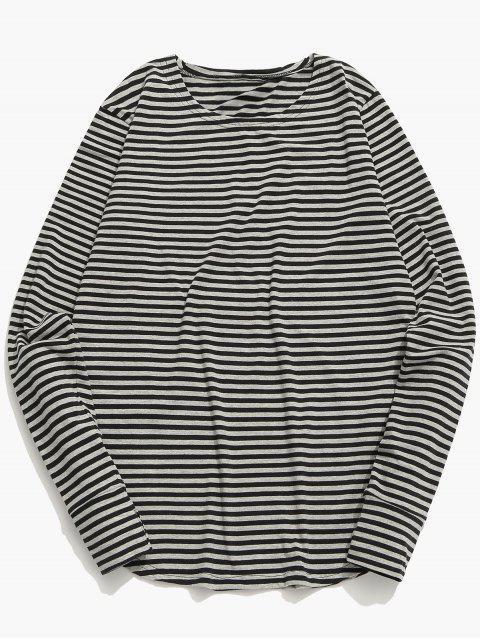Camiseta de manga larga a rayas - Nube Gris L Mobile