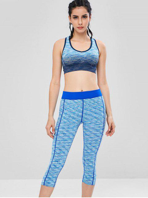 Racerback Space Dye Gymnastik-BH und Leggings-Set - Blau L Mobile