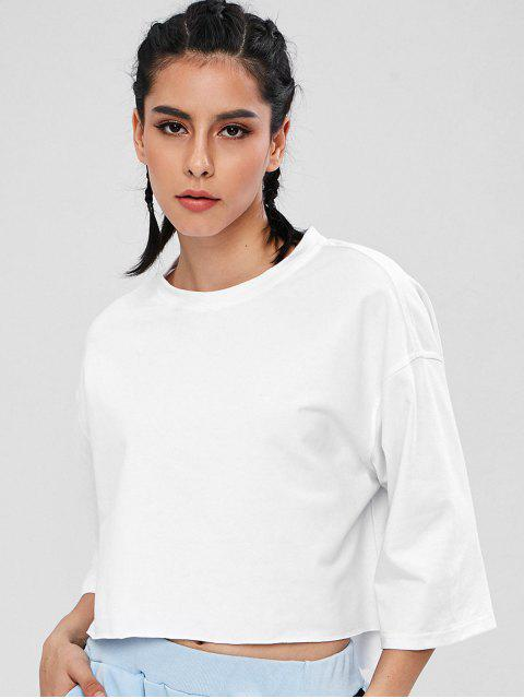 ZAFUL Drop Schulter High Low T-Shirt - Weiß S Mobile