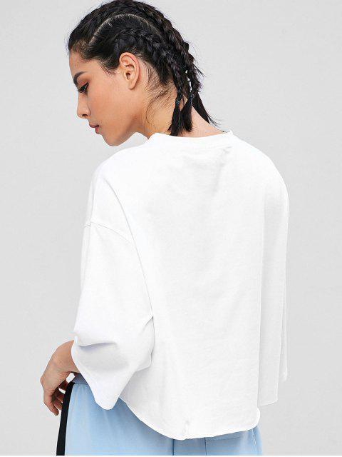 ZAFUL Drop Schulter High Low T-Shirt - Weiß M Mobile