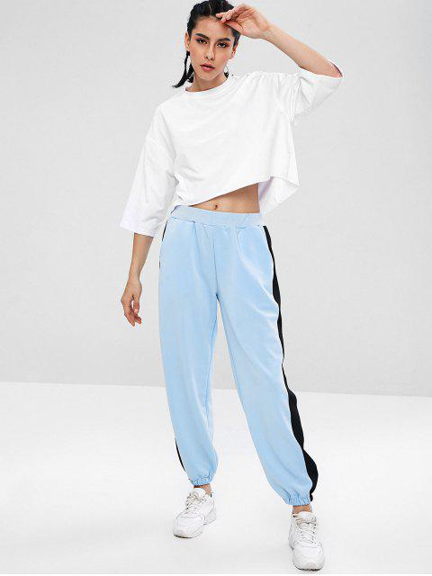 ZAFUL Drop Schulter High Low T-Shirt - Weiß L Mobile
