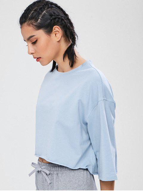 ZAFUL Drop Schulter High Low T-Shirt - Baby Blau S Mobile