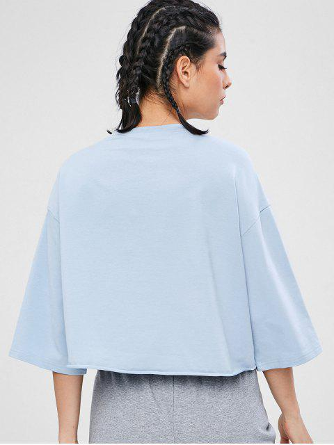 ZAFUL Drop Schulter High Low T-Shirt - Baby Blau L Mobile