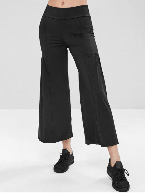 Mittlere Leibhöhe Yogahosen mit weitem Bein - Schwarz M Mobile