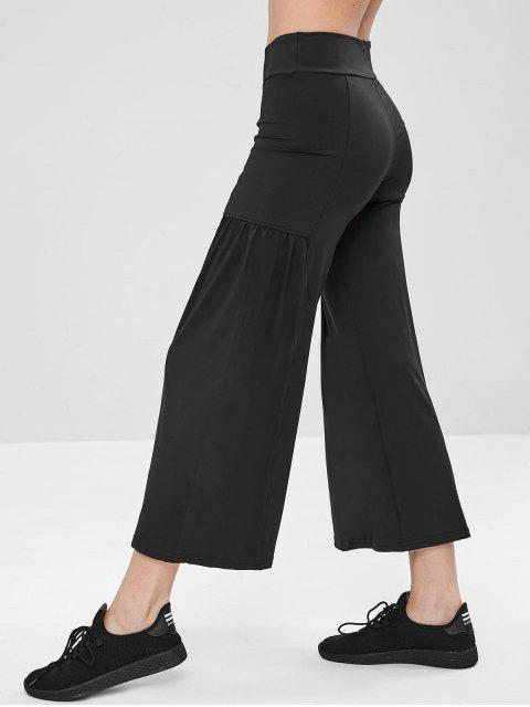 Mittlere Leibhöhe Yogahosen mit weitem Bein - Schwarz L Mobile