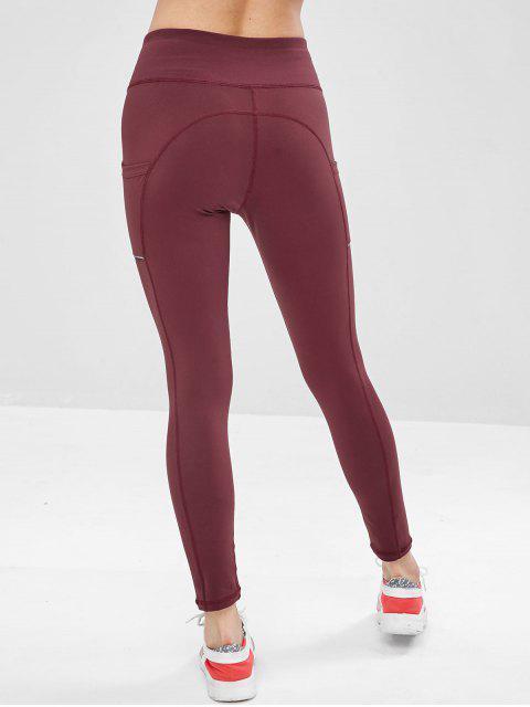 Legging de Gymnastique Taille Large avec Poche Latérale - Rouge Vineux M Mobile
