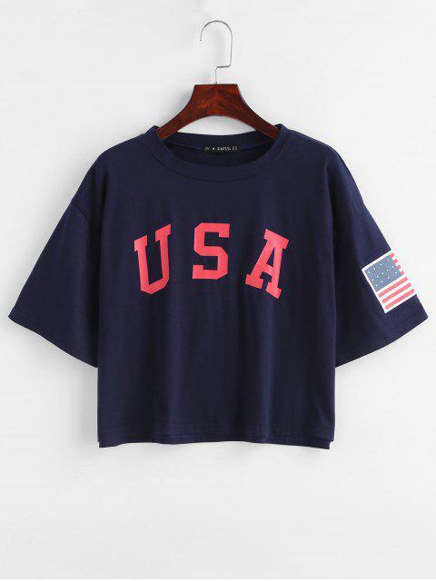 women ZAFUL American Flag Graphic Tee - DEEP BLUE L Mobile