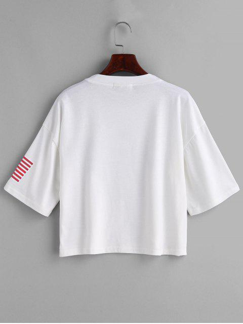 shop ZAFUL American Flag Graphic Tee - WHITE M Mobile