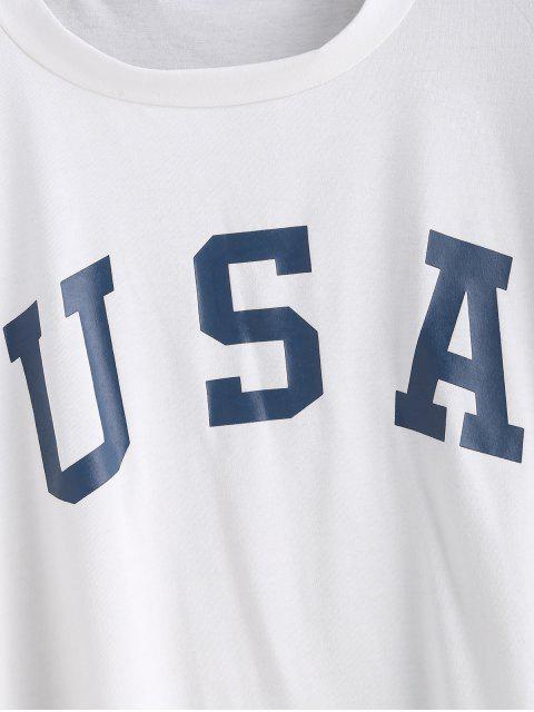 ZAFUL T-shirt Graphique Drapeau Américain - Blanc XL Mobile