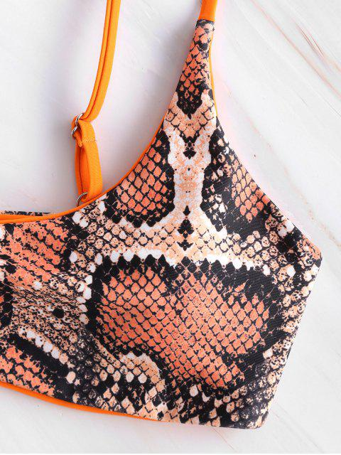 ZAFUL - Schlangenledermuster-Bralette-Bikini-Set - Papaya Orange L Mobile