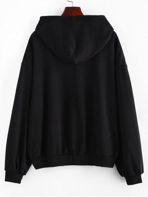 shop Plus Size Lip Sequined Hoodie - BLACK 4X Mobile