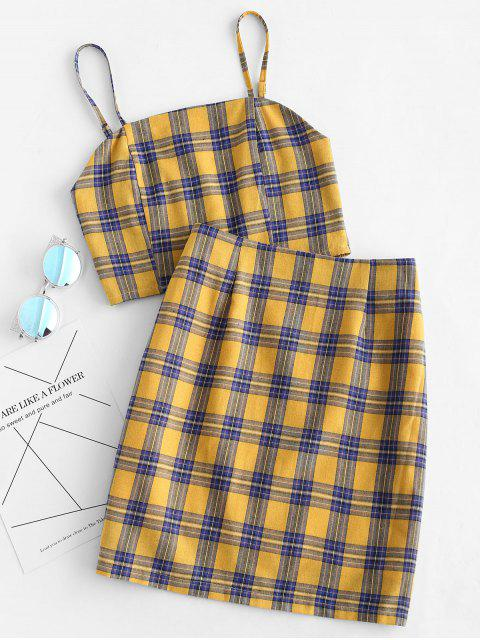 best Smocked Back Cami Plaid Skirt Set - YELLOW S Mobile