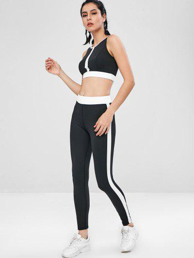 Contrast Two Tone Gym Bra and Leggings Set