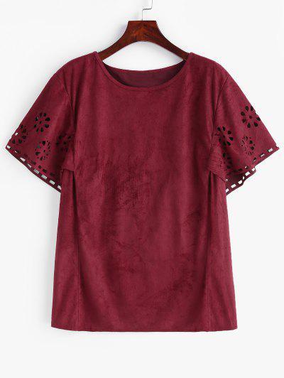 T-shirt Ajouré Grande Taille En Faux Daim - Rouge Vineux 3x