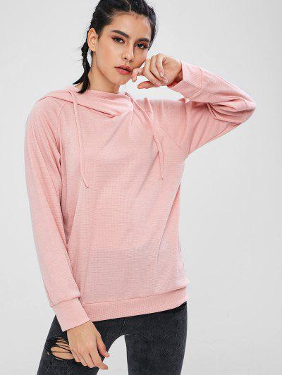 ZAFUL Knitted Pullover Raglan Sleeve Hoodie - Light Pink L