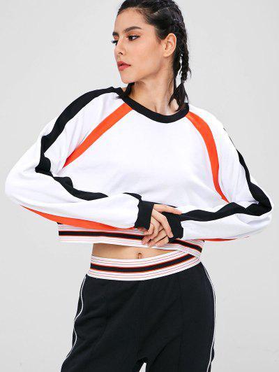 08457ec994d Crop Color Block Sport Sweatshirt - White L