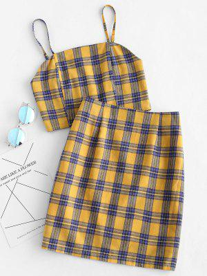 Smocked Back Cami Plaid Skirt Set - Yellow L  ₪64 RRP ₪111