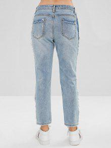 f84500dbb9 49% OFF] 2019 Frayed Trim Ripped Jeans In LIGHT BLUE | ZAFUL