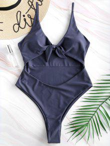 Tie Front Cutout High Leg Swimsuit - ضوء سليت رمادي S