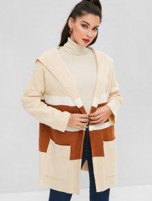 Hooded Patch Pocket Striped Tricolor Cardigan