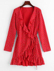 ستار Ruffle التفاف اللباس البسيطة - الحمم الحمراء M
