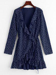 ستار Ruffle التفاف اللباس البسيطة - منتصف الليل الأزرق L