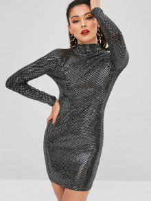 فستان بياقة عالية مطرزة - أسود