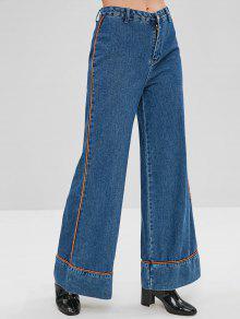 بنطلون جينز واسع الساق - أزرق L