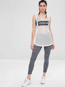 9ae999eed4c313 21% OFF  2019 Mesh Sheer Graphic Sports Tank Top In WHITE